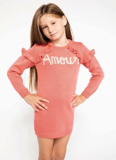 DeFacto Omzu Fırfır Detaylı Yazı Baskılı Triko Elbise Kırmızı